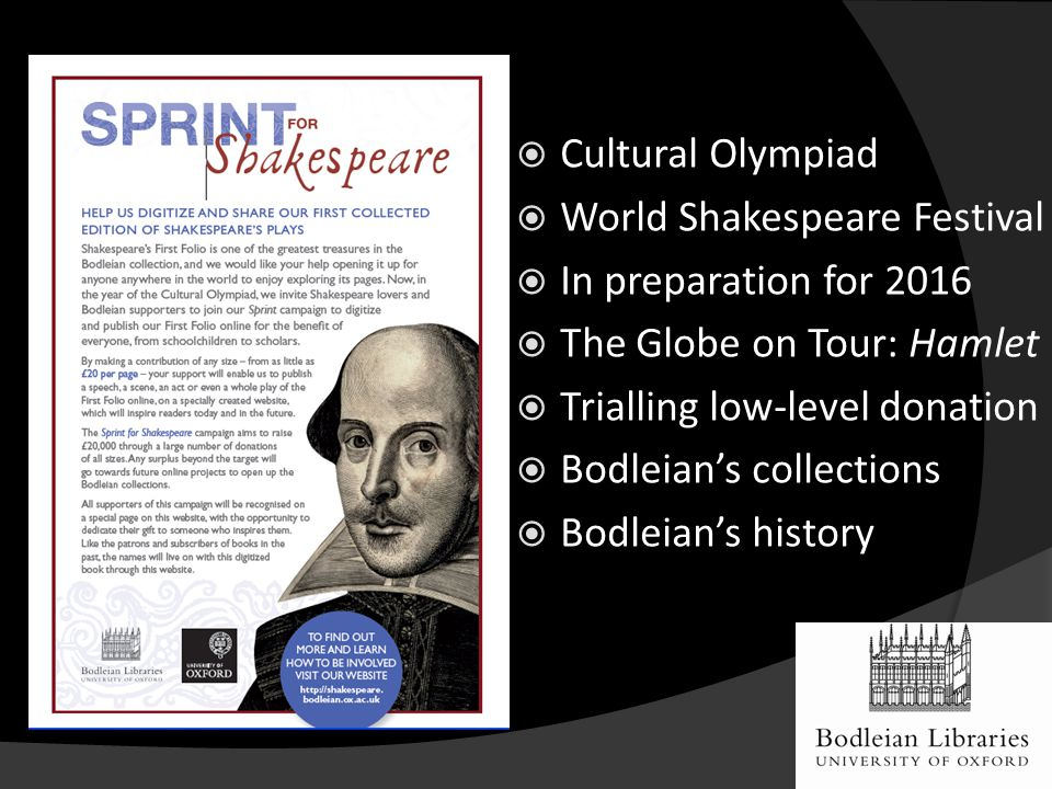  Cultural Olympiad  World Shakespeare Festival  In preparation for 2016  The Globe on Tour: Hamlet  Trialling low-level donation  Bodleian's collections  Bodleian's history
