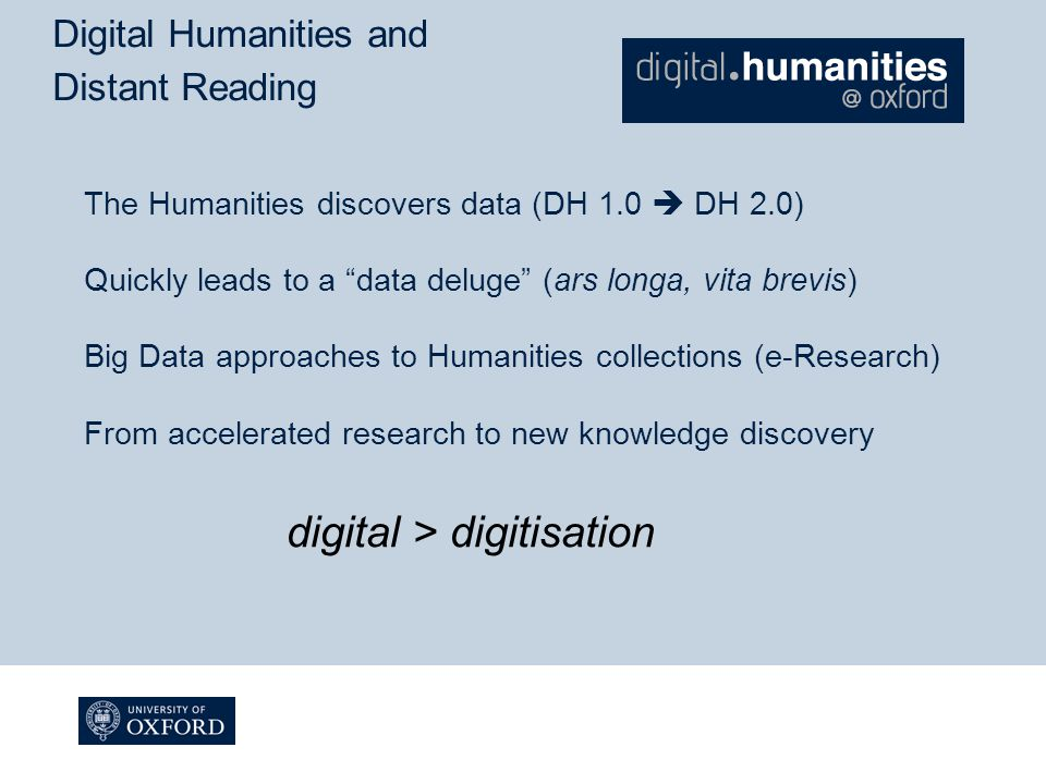 Digital Humanities and Distant Reading The Humanities discovers data (DH 1.0  DH 2.0) Quickly leads to a data deluge (ars longa, vita brevis) Big Data approaches to Humanities collections (e-Research) From accelerated research to new knowledge discovery digital > digitisation