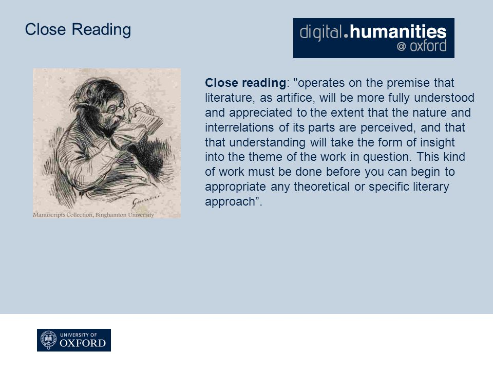 Close Reading Close reading: