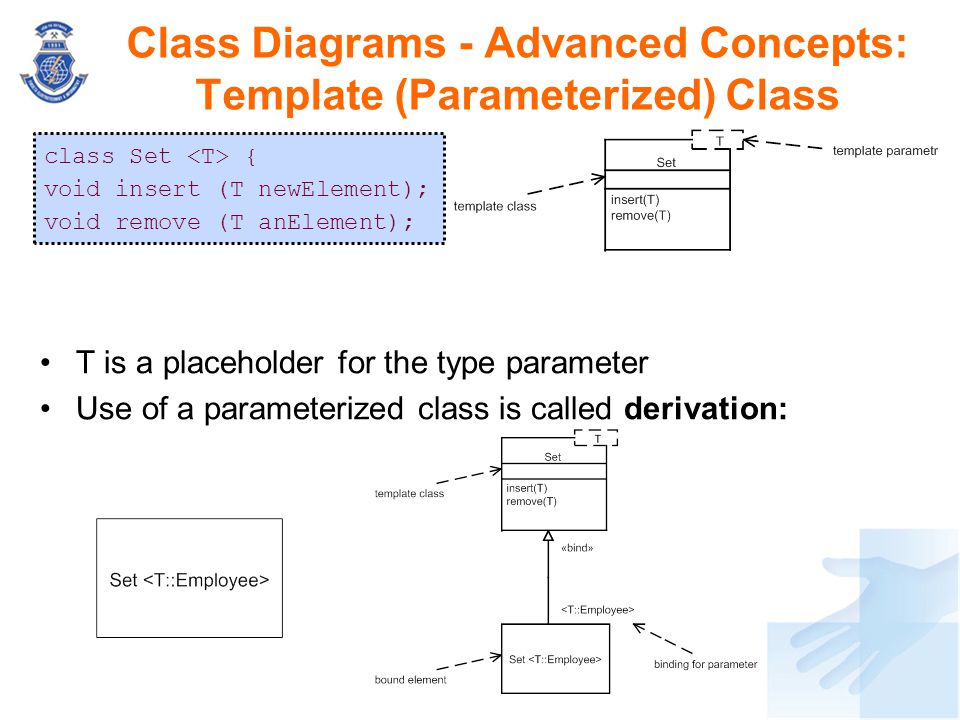 T is a placeholder for the type parameter Use of a parameterized class is called derivation: Class Diagrams - Advanced Concepts: Template (Parameteriz