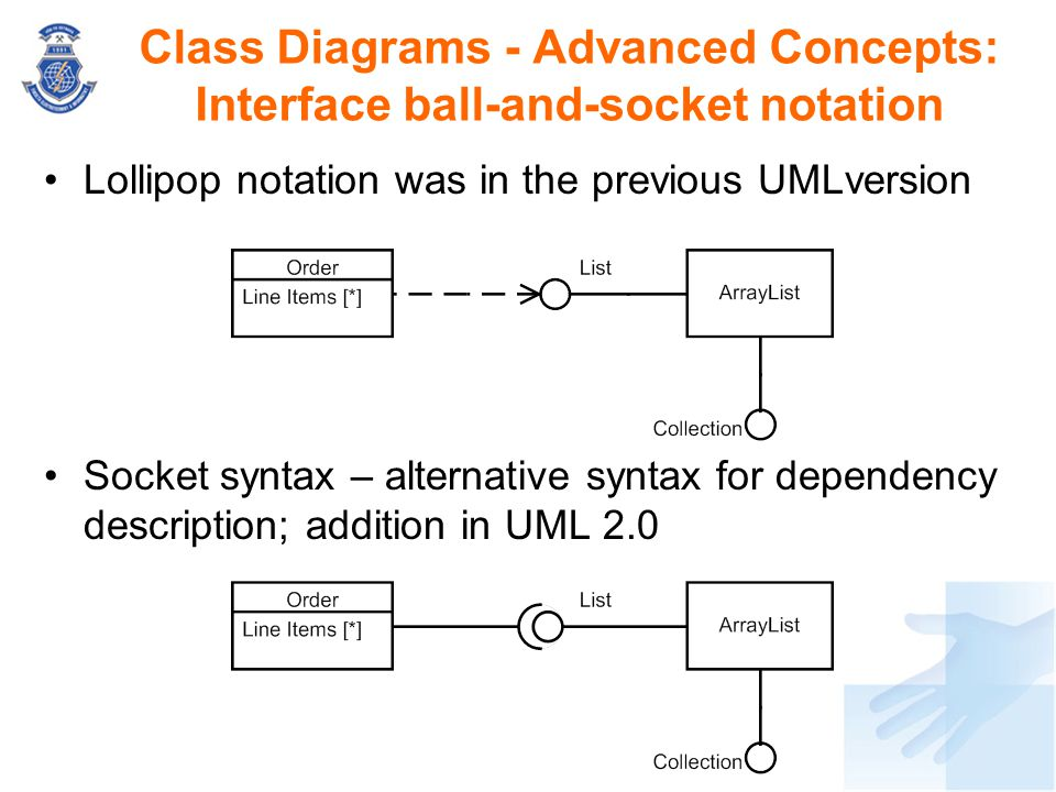 Lollipop notation was in the previous UMLversion Socket syntax – alternative syntax for dependency description; addition in UML 2.0 Class Diagrams - A