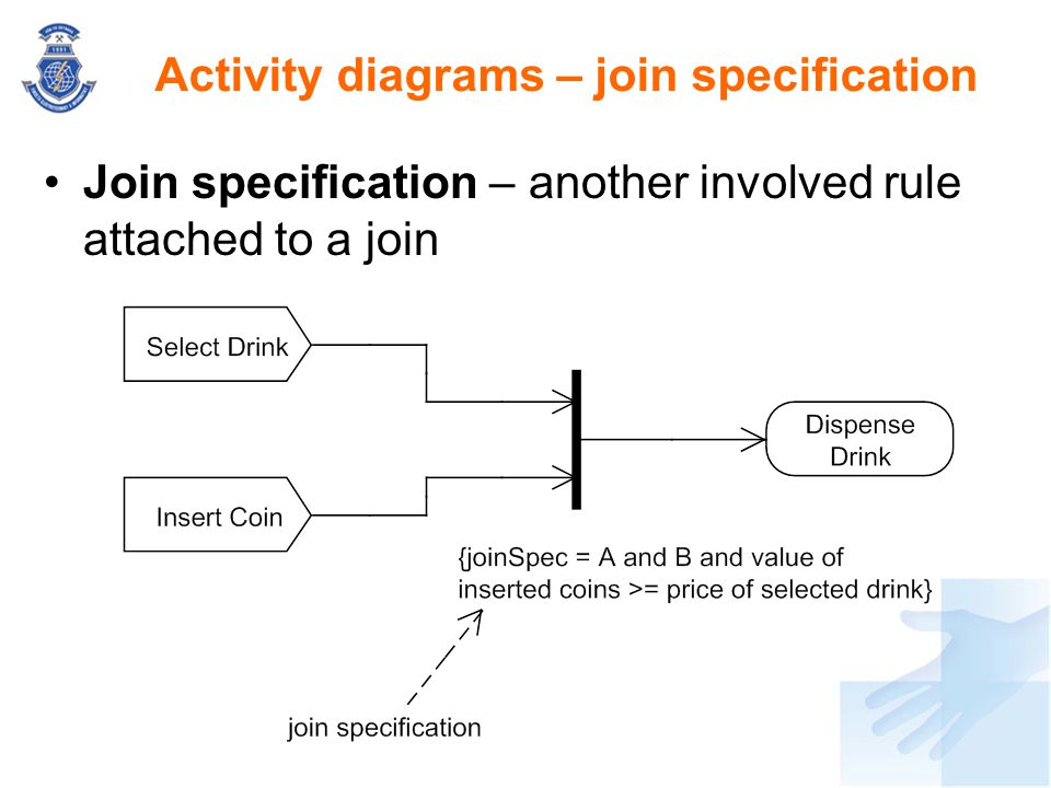 Join specification – another involved rule attached to a join Activity diagrams – join specification