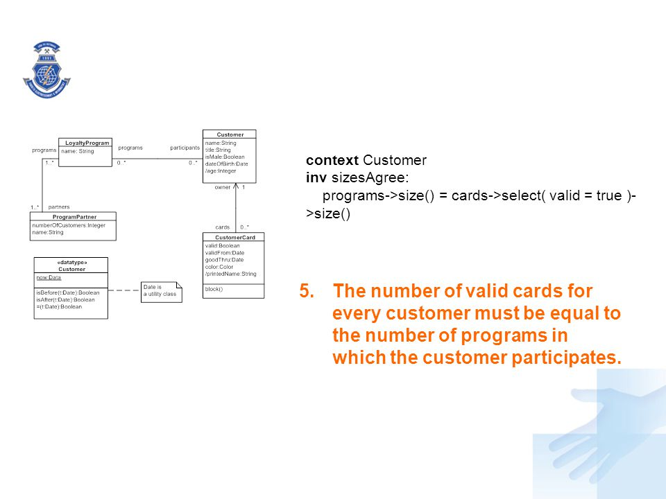 5.The number of valid cards for every customer must be equal to the number of programs in which the customer participates. context Customer inv sizesA