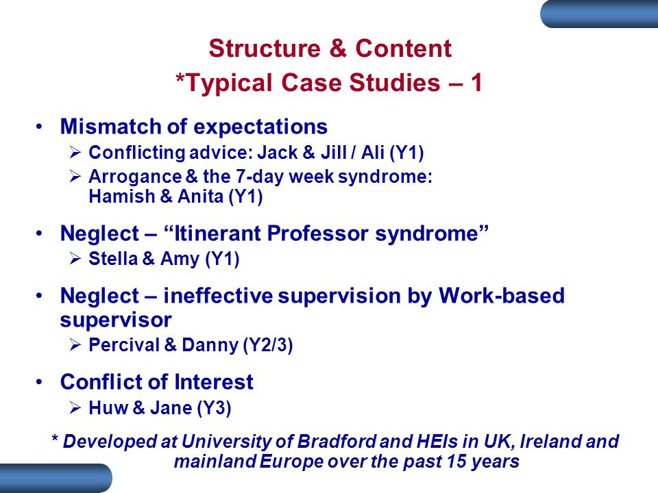 Structure & Content *Typical Case Studies – 1 Mismatch of expectations  Conflicting advice: Jack & Jill / Ali (Y1)  Arrogance & the 7-day week syndrome: Hamish & Anita (Y1) Neglect – Itinerant Professor syndrome  Stella & Amy (Y1) Neglect – ineffective supervision by Work-based supervisor  Percival & Danny (Y2/3) Conflict of Interest  Huw & Jane (Y3) * Developed at University of Bradford and HEIs in UK, Ireland and mainland Europe over the past 15 years