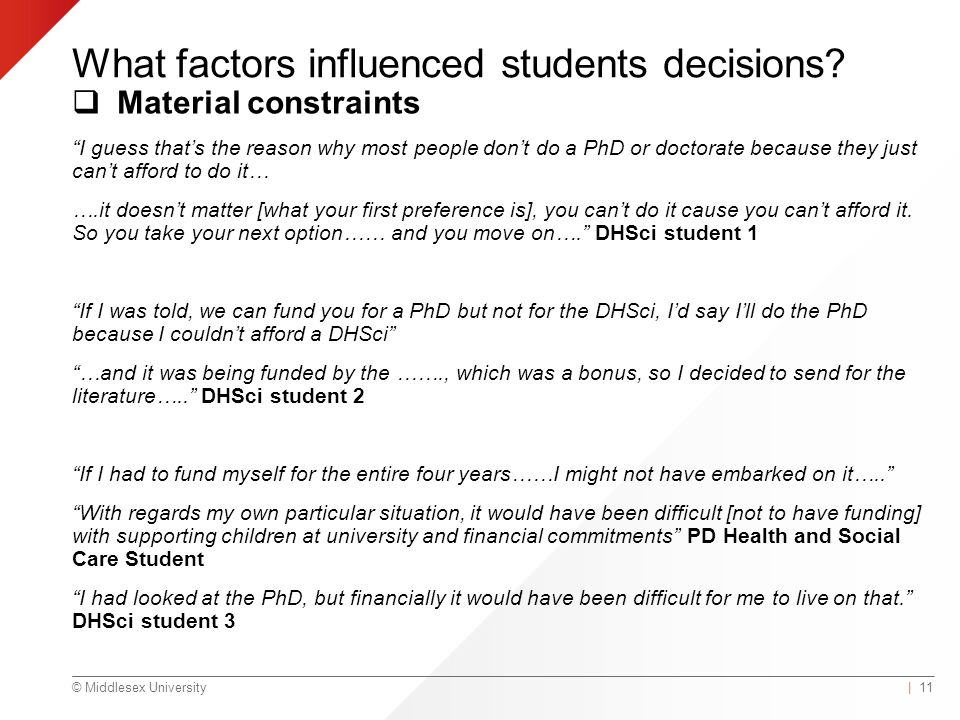 © Middlesex University What factors influenced students decisions.