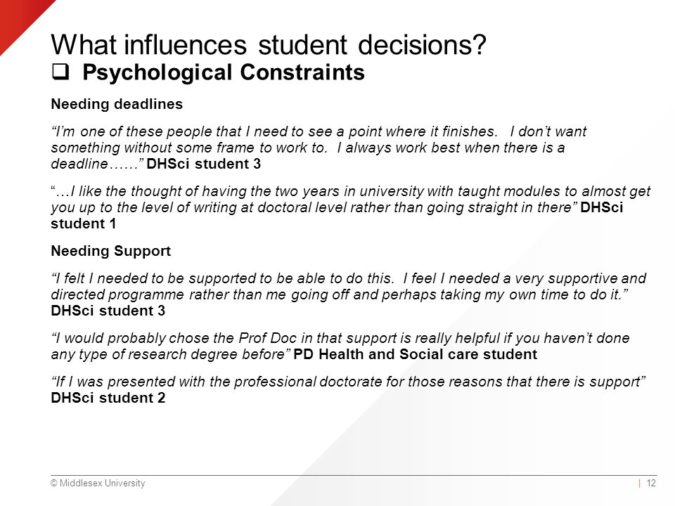 © Middlesex University What influences student decisions.