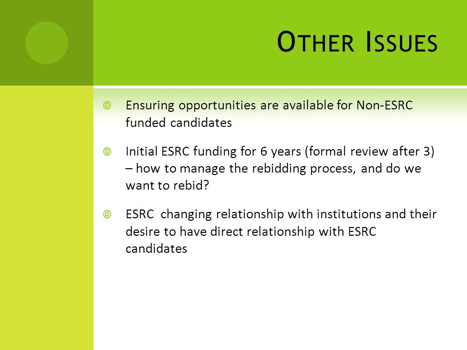 O THER I SSUES  Ensuring opportunities are available for Non-ESRC funded candidates  Initial ESRC funding for 6 years (formal review after 3) – how to manage the rebidding process, and do we want to rebid.