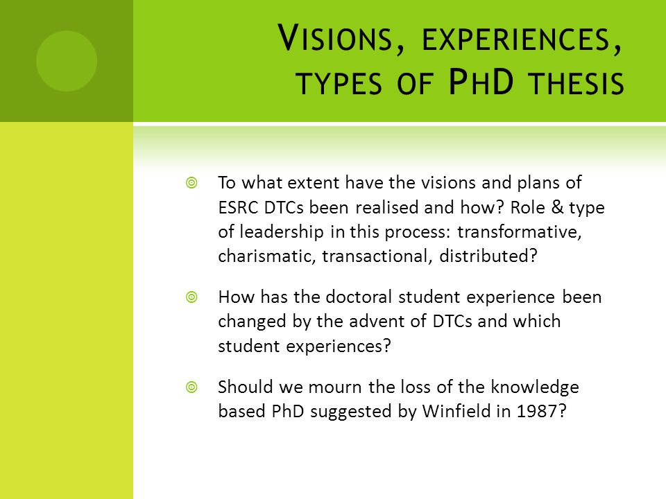 V ISIONS, EXPERIENCES, TYPES OF P H D THESIS  To what extent have the visions and plans of ESRC DTCs been realised and how.