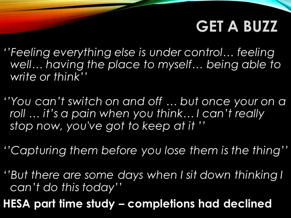 GET A BUZZ ''Feeling everything else is under control… feeling well… having the place to myself… being able to write or think'' ''You can't switch on