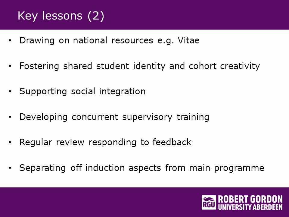 Key lessons (2) Drawing on national resources e.g.