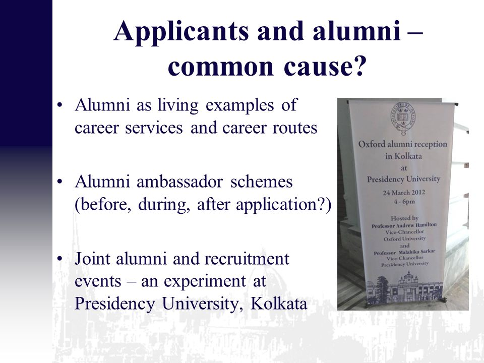 Applicants and alumni – common cause.