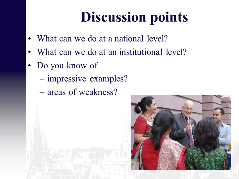 Discussion points What can we do at a national level.