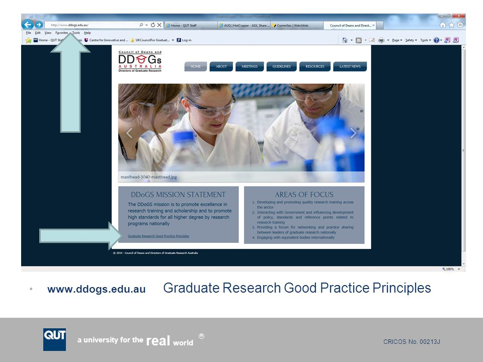 CRICOS No. 00213J a university for the world real R www.ddogs.edu.au Graduate Research Good Practice Principles
