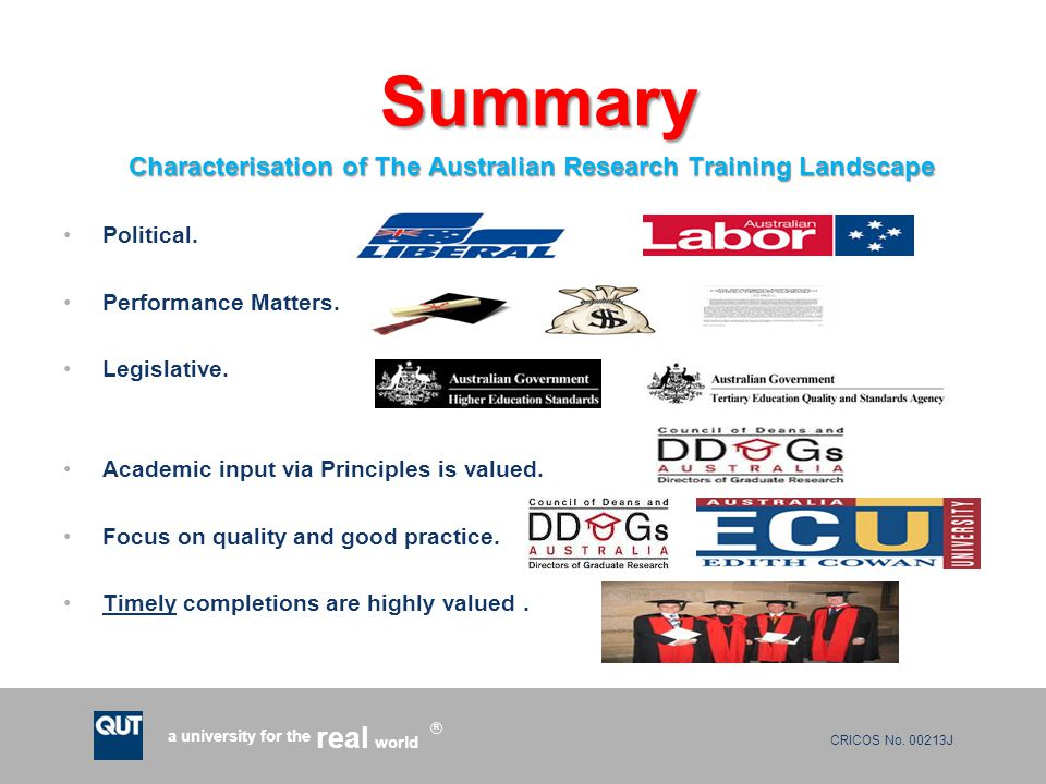 CRICOS No. 00213J a university for the world real R Summary Summary Characterisation of The Australian Research Training Landscape Characterisation of