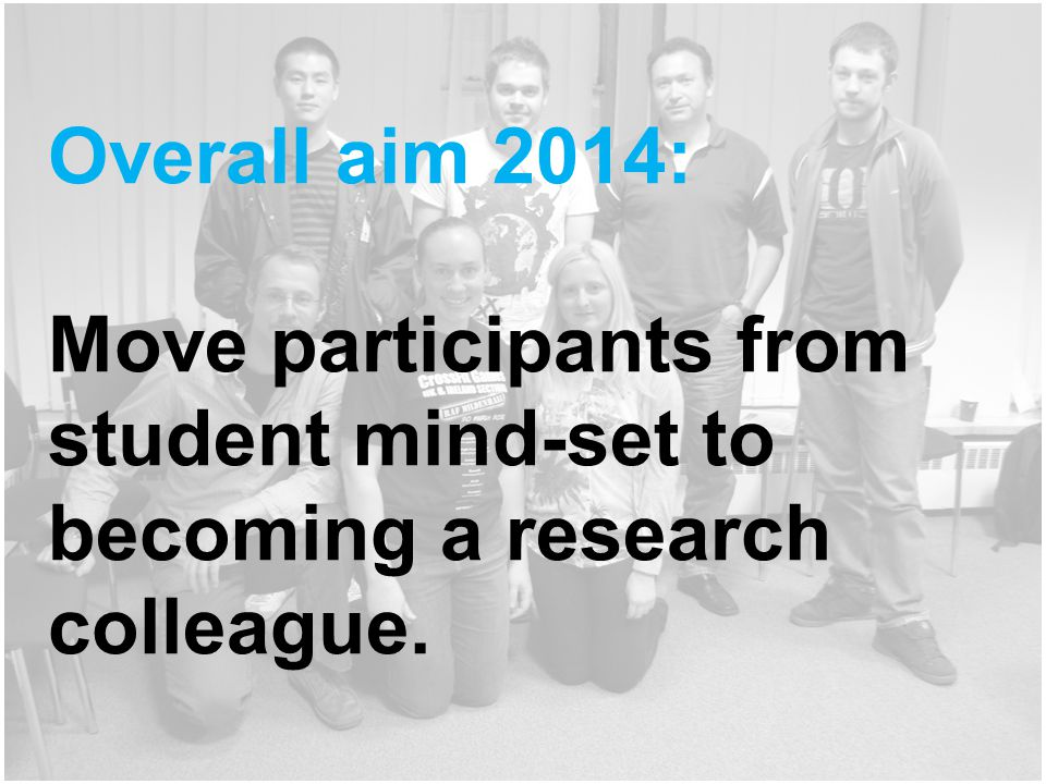 Overall aim 2014: Move participants from student mind-set to becoming a research colleague.