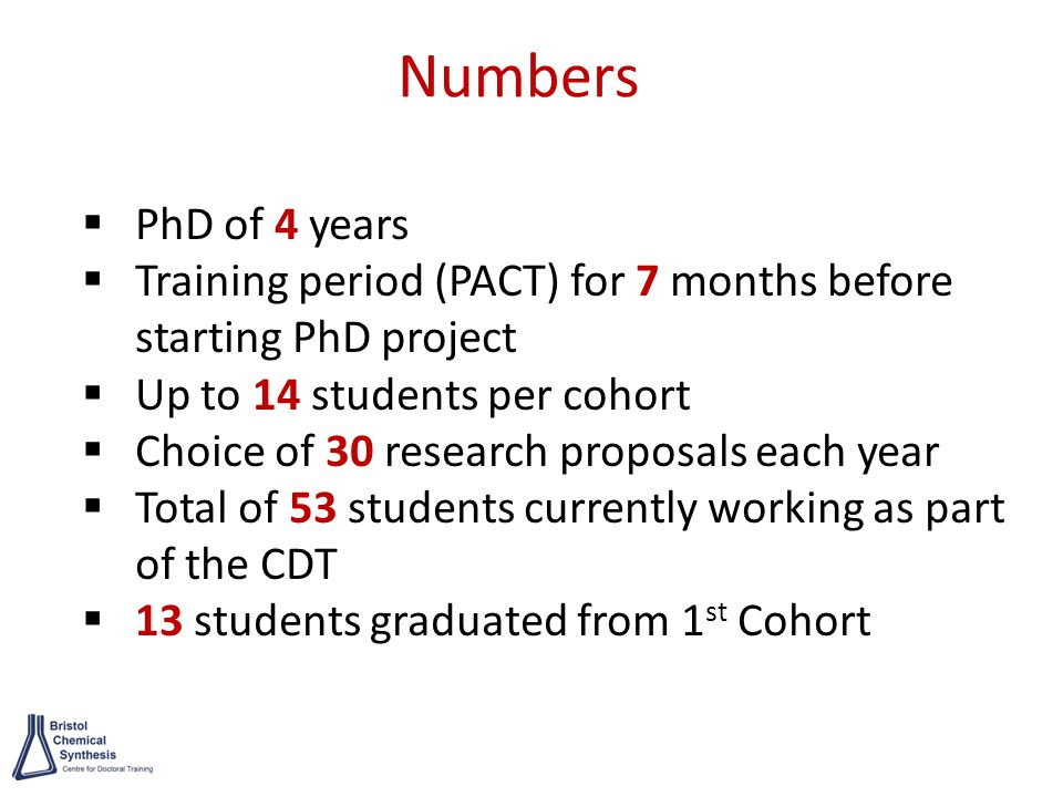 Numbers  PhD of 4 years  Training period (PACT) for 7 months before starting PhD project  Up to 14 students per cohort  Choice of 30 research proposals each year  Total of 53 students currently working as part of the CDT  13 students graduated from 1 st Cohort