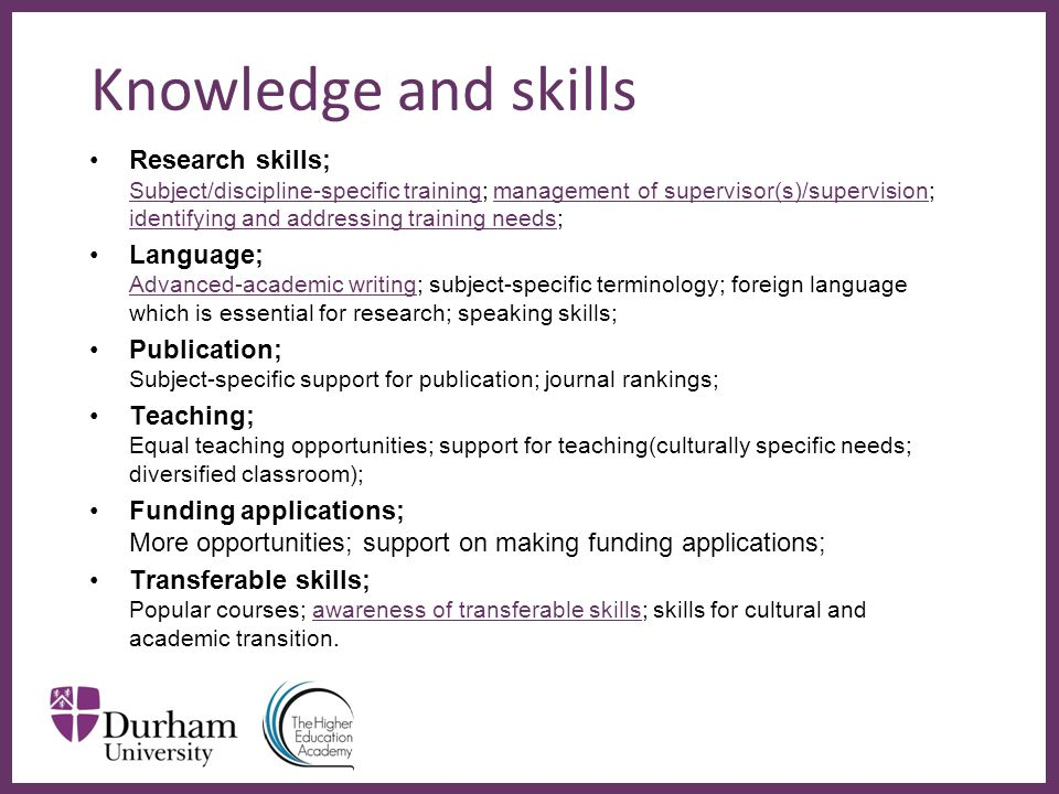 ∂ Knowledge and skills Research skills; Subject/discipline-specific training; management of supervisor(s)/supervision; identifying and addressing training needs; Language; Advanced-academic writing; subject-specific terminology; foreign language which is essential for research; speaking skills; Publication; Subject-specific support for publication; journal rankings; Teaching; Equal teaching opportunities; support for teaching(culturally specific needs; diversified classroom); Funding applications; More opportunities; support on making funding applications; Transferable skills; Popular courses; awareness of transferable skills; skills for cultural and academic transition.