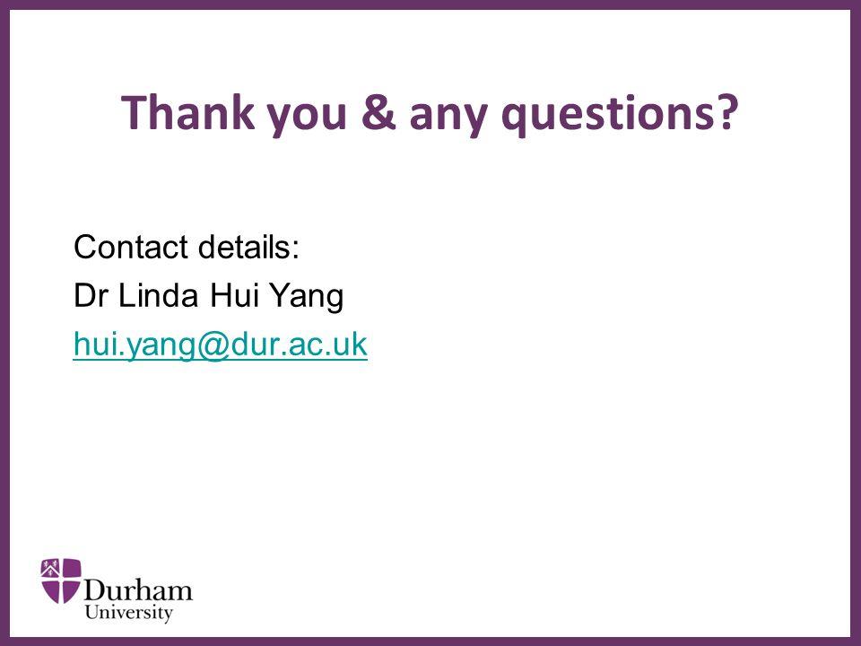 ∂ Thank you & any questions Contact details: Dr Linda Hui Yang hui.yang@dur.ac.uk