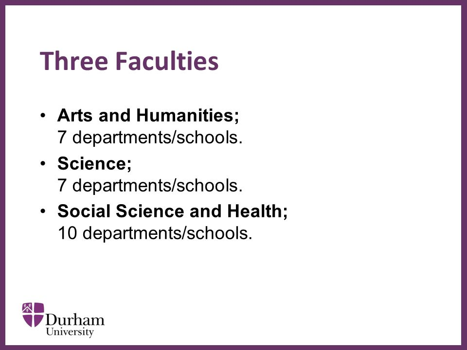 ∂ Three Faculties Arts and Humanities; 7 departments/schools. Science; 7 departments/schools. Social Science and Health; 10 departments/schools.