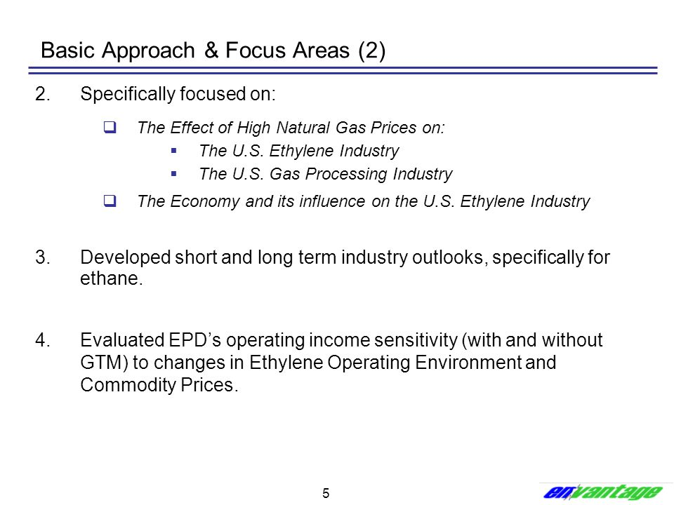 5 Basic Approach & Focus Areas (2) 2.Specifically focused on:  The Effect of High Natural Gas Prices on:  The U.S. Ethylene Industry  The U.S. Gas