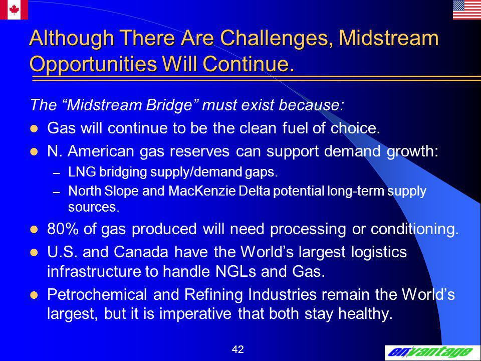 42 Although There Are Challenges, Midstream Opportunities Will Continue.