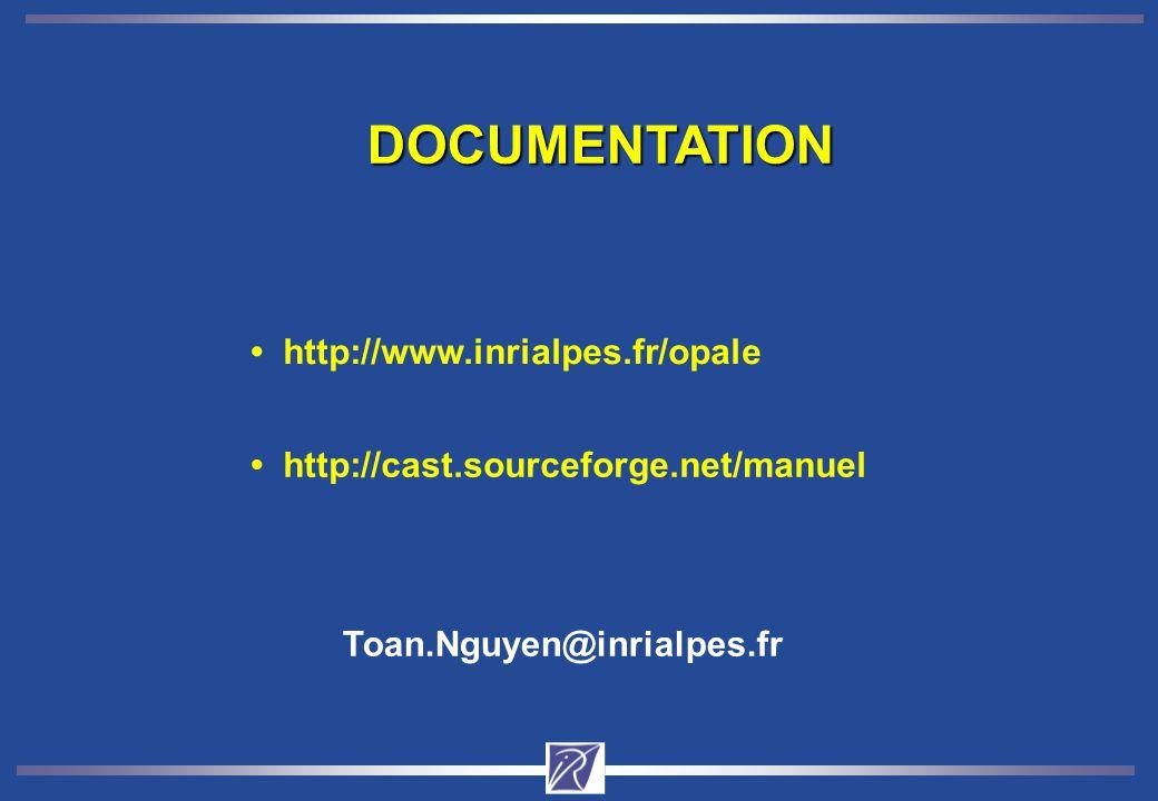 DOCUMENTATION http://www.inrialpes.fr/opale Toan.Nguyen@inrialpes.fr http://cast.sourceforge.net/manuel
