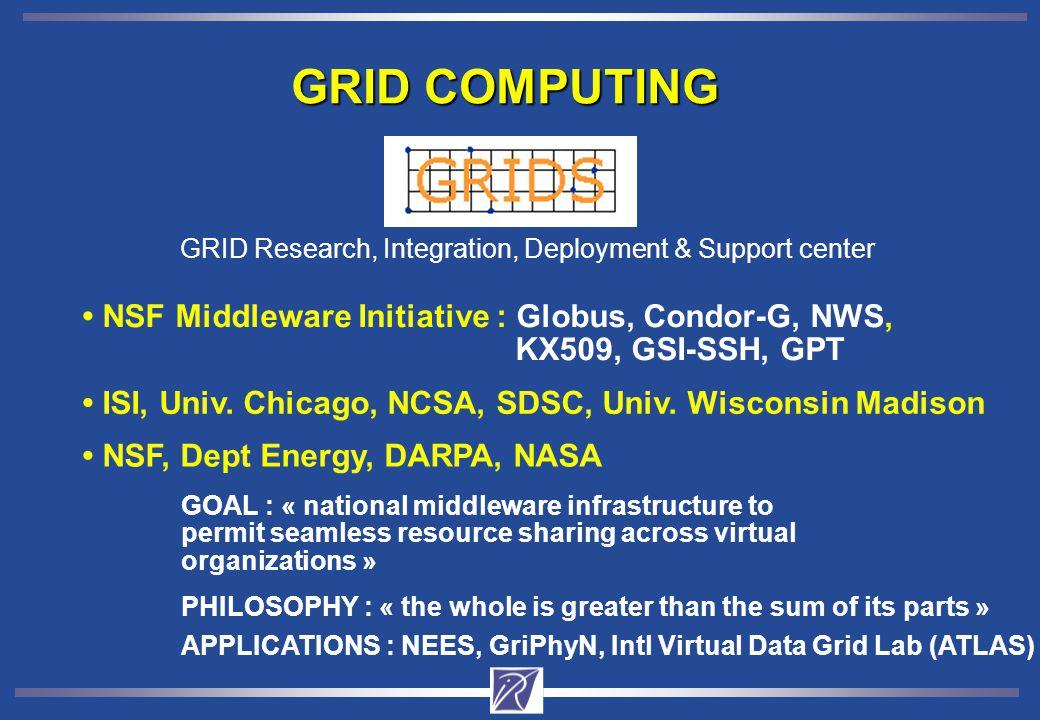 GRID COMPUTING NSF Middleware Initiative : Globus, Condor-G, NWS, KX509, GSI-SSH, GPT ISI, Univ.
