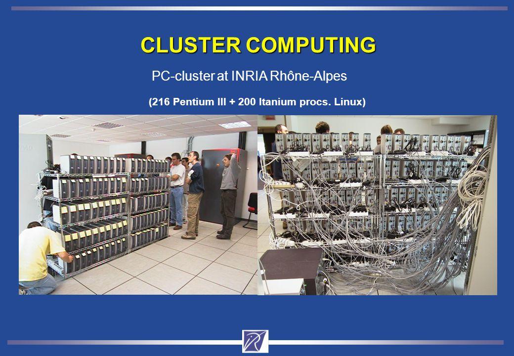 CLUSTER COMPUTING PC-cluster at INRIA Rhône-Alpes (216 Pentium III + 200 Itanium procs. Linux)