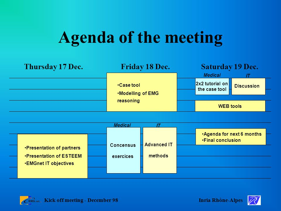 Inria Rhône-AlpesKick off meeting - December 98 Agenda of the meeting Saturday 19 Dec.Friday 18 Dec.Thursday 17 Dec.