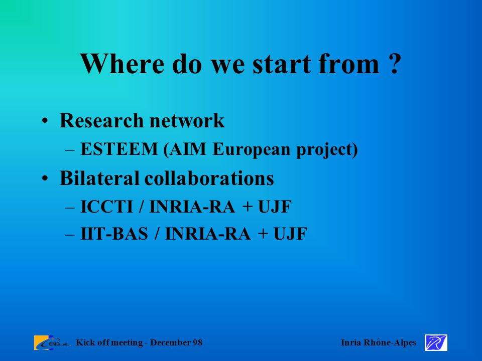 Inria Rhône-AlpesKick off meeting - December 98 Where do we start from .