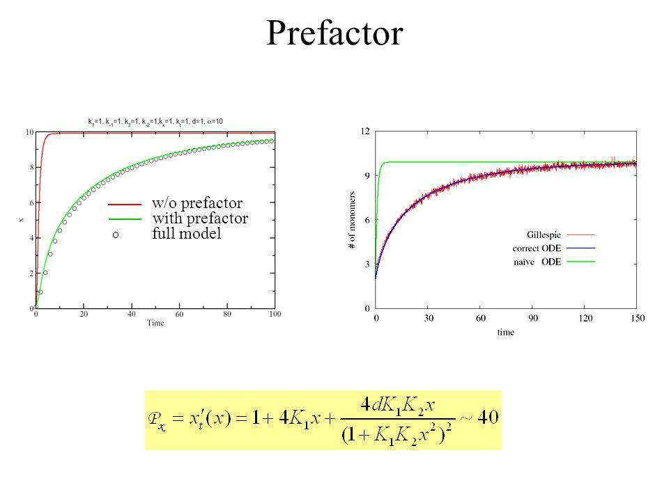 Prefactor w/o prefactor with prefactor full model