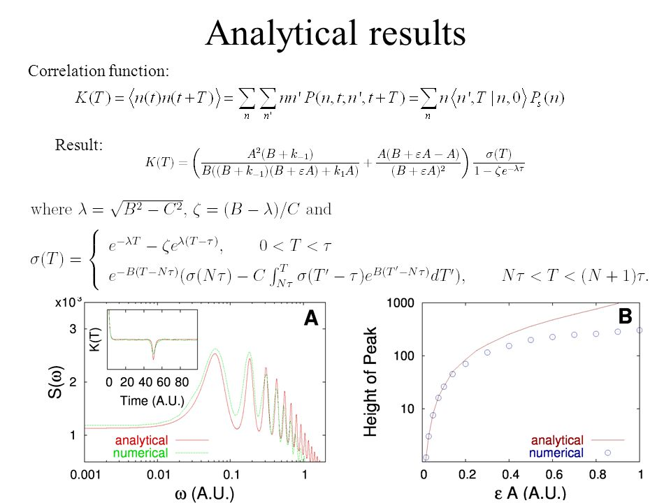 Analytical results Correlation function: Result: