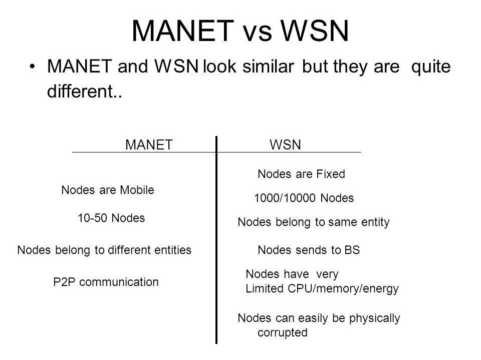 MANET vs WSN MANET and WSN look similar but they are quite different..