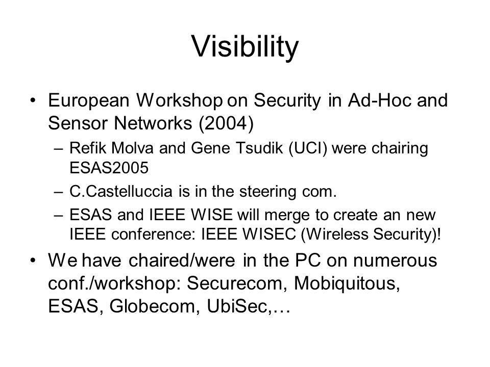 Visibility European Workshop on Security in Ad-Hoc and Sensor Networks (2004) –Refik Molva and Gene Tsudik (UCI) were chairing ESAS2005 –C.Castelluccia is in the steering com.