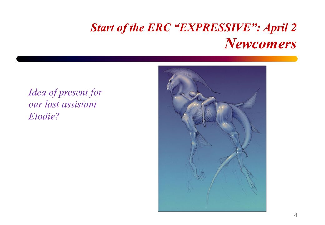 "Start of the ERC ""EXPRESSIVE"": April 2 Newcomers 4 Idea of present for our last assistant Elodie?"