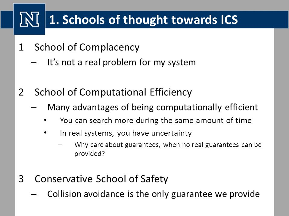 1. Schools of thought towards ICS 1School of Complacency – It's not a real problem for my system 2School of Computational Efficiency – Many advantages