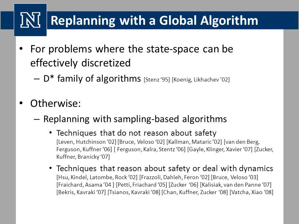 Replanning with a Global Algorithm For problems where the state-space can be effectively discretized – D* family of algorithms [Stenz '95] [Koenig, Likhachev '02] Otherwise: – Replanning with sampling-based algorithms Techniques that do not reason about safety [Leven, Hutchinson '02] [Bruce, Veloso '02] [Kallman, Mataric '02] [van den Berg, Ferguson, Kuffner '06] [ Ferguson, Kalra, Stentz '06] [Gayle, Klinger, Xavier '07] [Zucker, Kuffner, Branicky '07] Techniques that reason about safety or deal with dynamics [Hsu, Kindel, Latombe, Rock '02] [Frazzoli, Dahleh, Feron '02] [Bruce, Veloso '03] [Fraichard, Asama '04 ] [Petti, Friachard '05] [Zucker '06] [Kalisiak, van den Panne '07] [Bekris, Kavraki '07] [Tsianos, Kavraki '08] [Chan, Kuffner, Zucker '08] [Vatcha, Xiao '08]