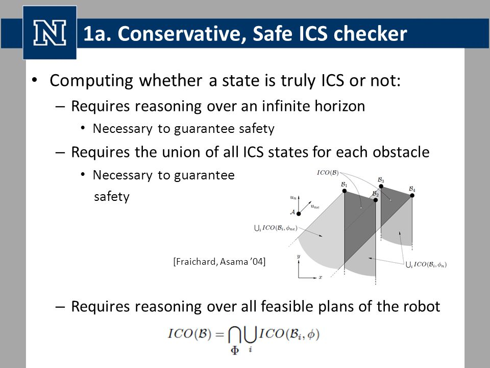 1a. Conservative, Safe ICS checker Computing whether a state is truly ICS or not: – Requires reasoning over an infinite horizon Necessary to guarantee