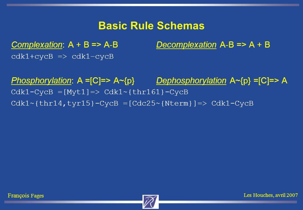 François Fages Les Houches, avril 2007 Basic Rule Schemas Complexation: A + B => A-B Decomplexation A-B => A + B cdk1+cycB => cdk1–cycB Phosphorylation: A =[C]=> A~{p} Dephosphorylation A~{p} =[C]=> A Cdk1-CycB =[Myt1]=> Cdk1~{thr161}-CycB Cdk1~{thr14,tyr15}-CycB =[Cdc25~{Nterm}]=> Cdk1-CycB