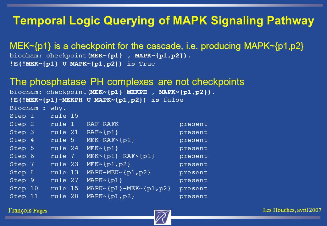 François Fages Les Houches, avril 2007 Temporal Logic Querying of MAPK Signaling Pathway MEK~{p1} is a checkpoint for the cascade, i.e.