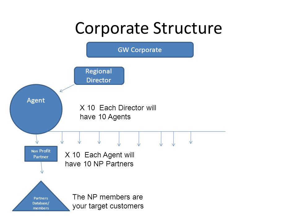Corporate Structure Agent Non Profit Partner GW Corporate Regional Director Partners Database/ members X 10 Each Director will have 10 Agents X 10 Each Agent will have 10 NP Partners The NP members are your target customers