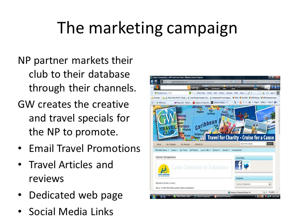 The marketing campaign NP partner markets their club to their database through their channels. GW creates the creative and travel specials for the NP