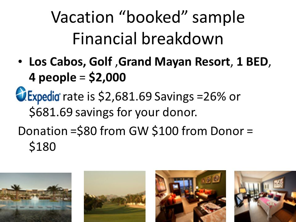 Vacation booked sample Financial breakdown Los Cabos, Golf,Grand Mayan Resort, 1 BED, 4 people = $2,000 rate is $2,681.69 Savings =26% or $681.69 savings for your donor.