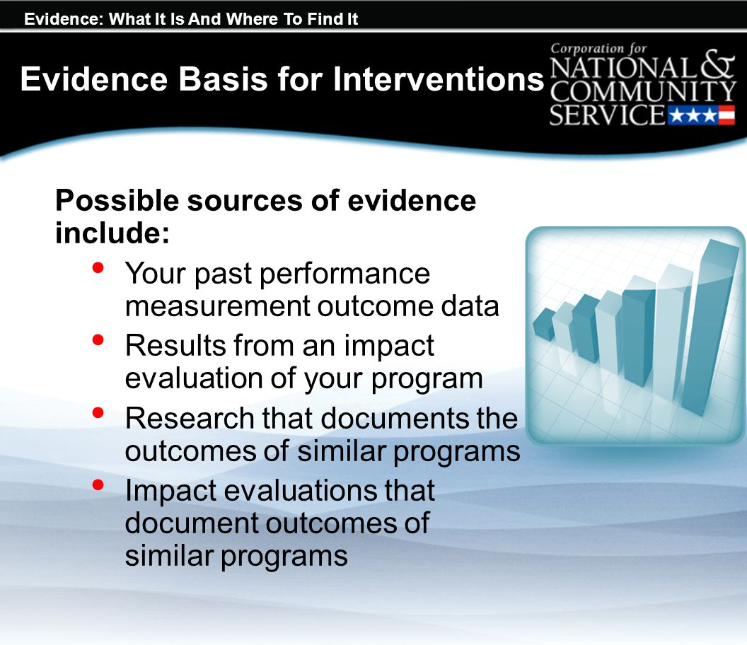 Evidence: What It Is And Where To Find It Possible sources of evidence include: Your past performance measurement outcome data Results from an impact evaluation of your program Research that documents the outcomes of similar programs Impact evaluations that document outcomes of similar programs Evidence Basis for Interventions