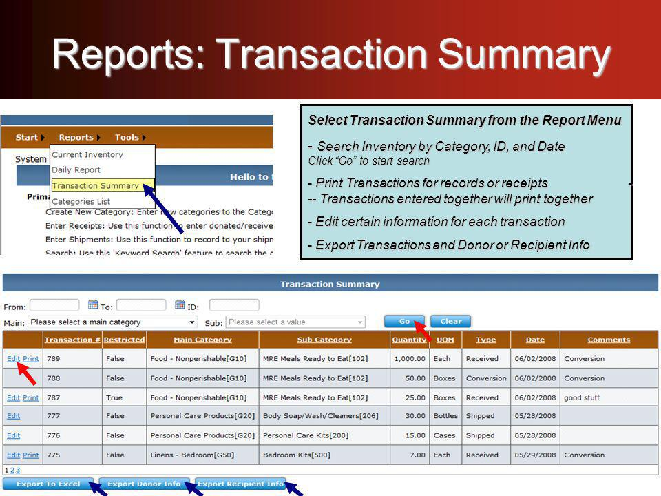 Reports: Transaction Summary Select Transaction Summary from the Report Menu - Search Inventory by Category, ID, and Date Click Go to start search - Print Transactions for records or receipts - -- Transactions entered together will print together - Edit certain information for each transaction - Export Transactions and Donor & Recipient Info Select Transaction Summary from the Report Menu - Search Inventory by Category, ID, and Date Click Go to start search - Print Transactions for records or receipts - -- Transactions entered together will print together - Edit certain information for each transaction - Export Transactions and Donor & Recipient Info Select Transaction Summary from the Report Menu - Search Inventory by Category, ID, and Date Click Go to start search - Print Transactions for records or receipts - -- Transactions entered together will print together - Edit certain information for each transaction - Export Transactions and Donor & Recipient Info Select Transaction Summary from the Report Menu - Search Inventory by Category, ID, and Date Click Go to start search - Print Transactions for records or receipts - -- Transactions entered together will print together - Edit certain information for each transaction - Export Transactions and Donor or Recipient Info