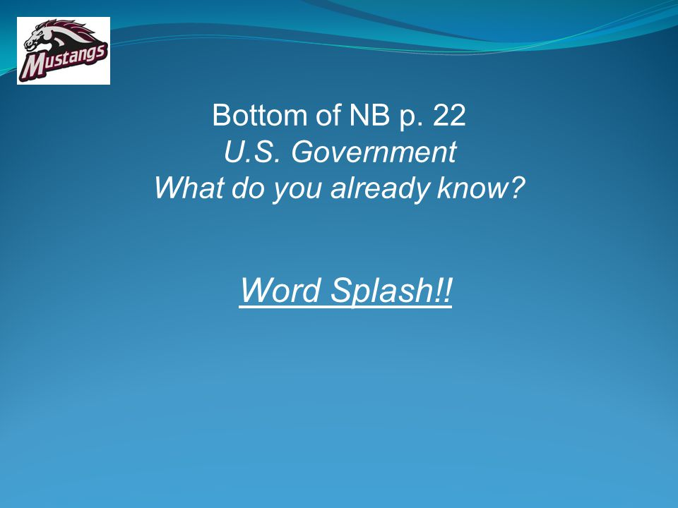 Bottom of NB p. 22 U.S. Government What do you already know? Word Splash!!