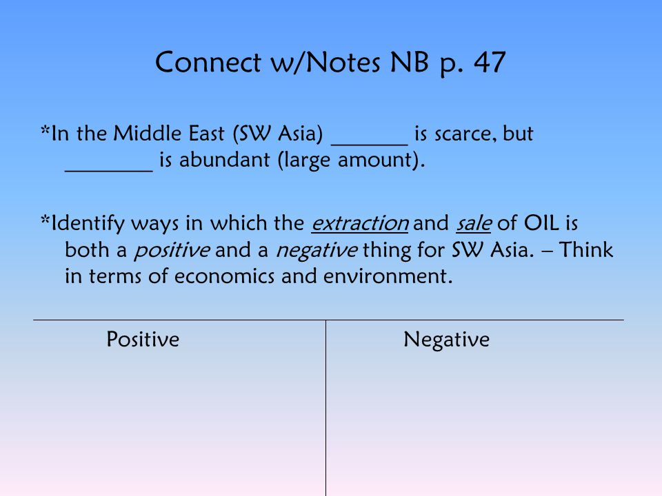 Connect w/Notes NB p. 47 *In the Middle East (SW Asia) _______ is scarce, but ________ is abundant (large amount). *Identify ways in which the extract