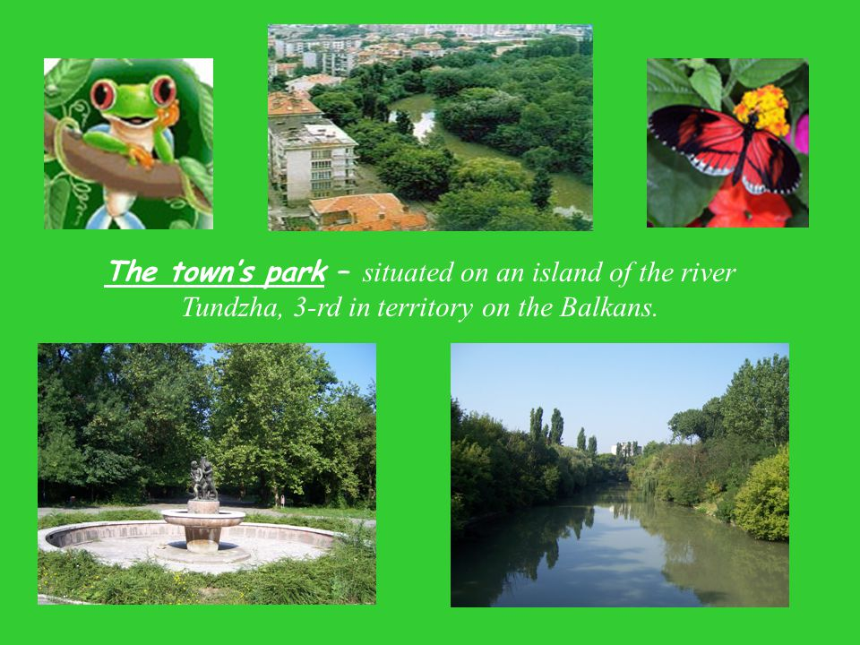 The town's park – situated on an island of the river Tundzha, 3-rd in territory on the Balkans.