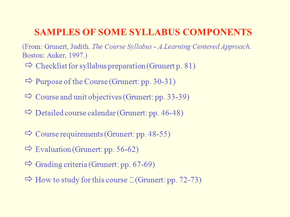 SAMPLES OF SOME SYLLABUS COMPONENTS (From: Grunert, Judith. The Course Syllabus - A Learning Centered Approach. Boston: Anker, 1997.)  Checklist for