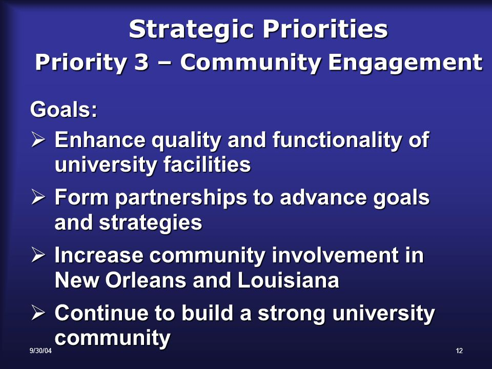 9/30/0412 Strategic Priorities Priority 3 – Community Engagement Goals:  Enhance quality and functionality of university facilities  Form partnerships to advance goals and strategies  Increase community involvement in New Orleans and Louisiana  Continue to build a strong university community